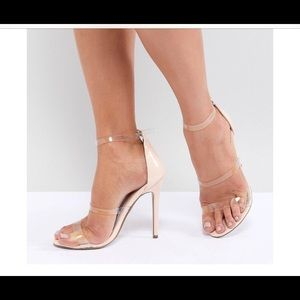 Missguided Nude Barely There Heels, Cross Back  10